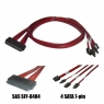 Кабель SAS Cable, SFF-8484 to 4x SATA, длина 1 метр, SAS-044, Negorack
